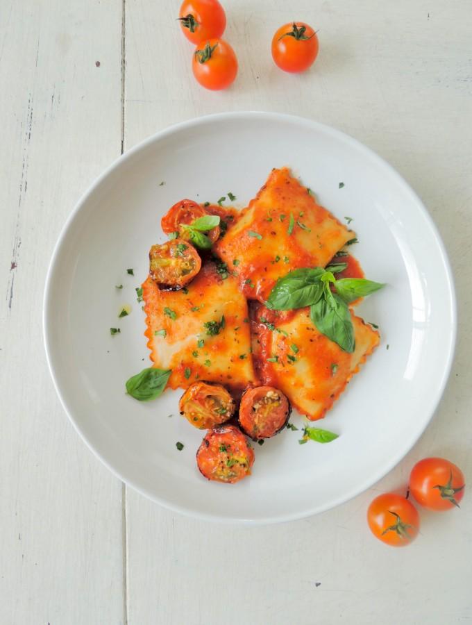 Parmesan, ricotta and beef raviolis