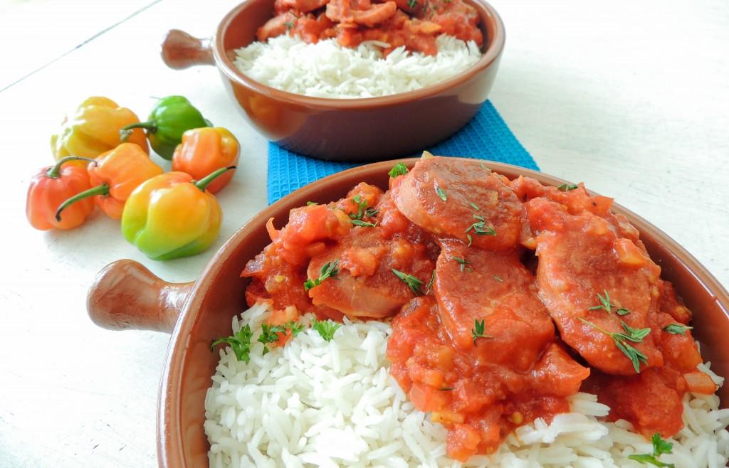 Sausage Rougail (Rougail Saucisse) #SundaySupper - The Petit Gourmet