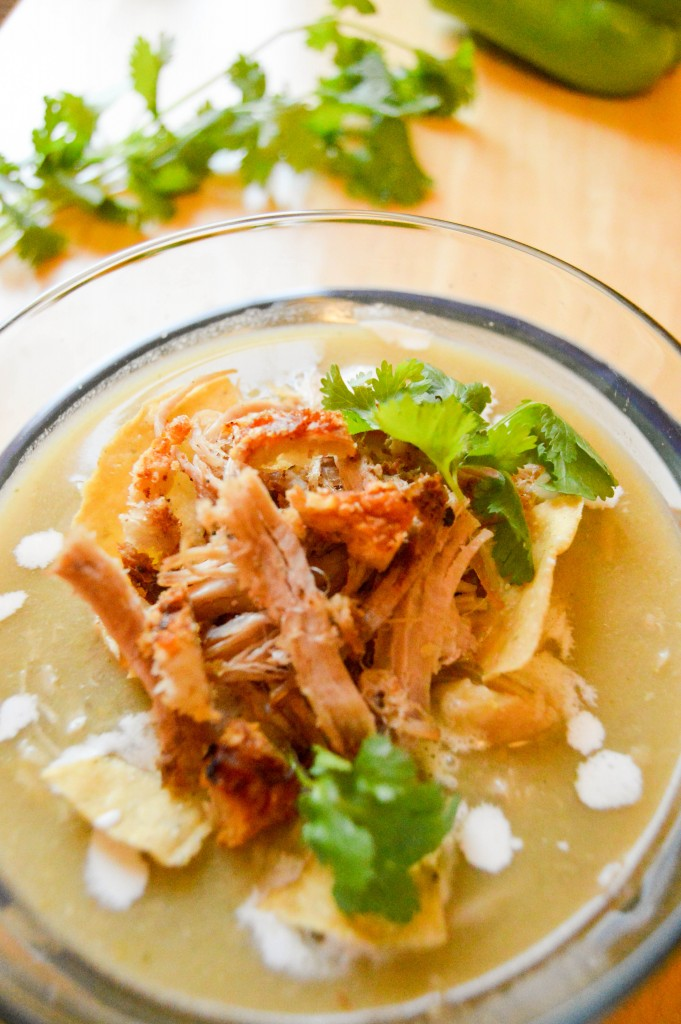 Pulled pork and tomatillos soup - The Petit Gourmet