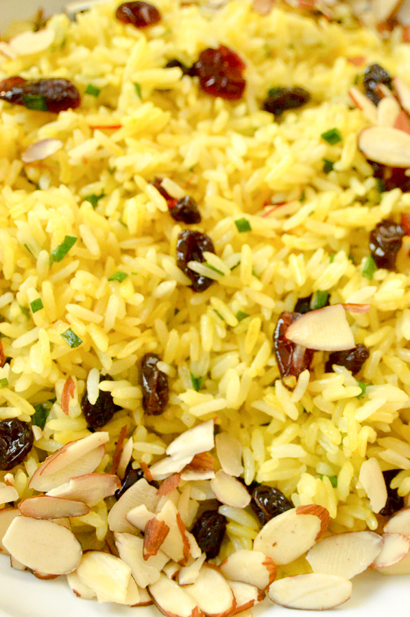 Saffron rice with cranberries and almonds