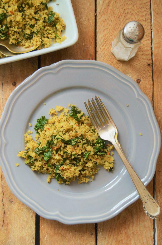 Kale fried Cauliflower rice